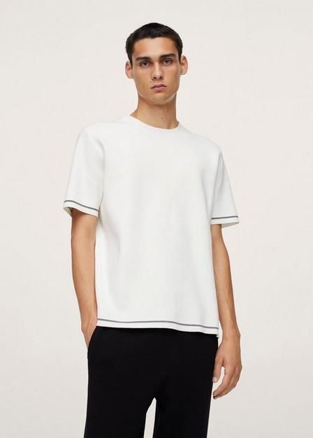 Mango - White Stretch Knit T-Shirt, Men