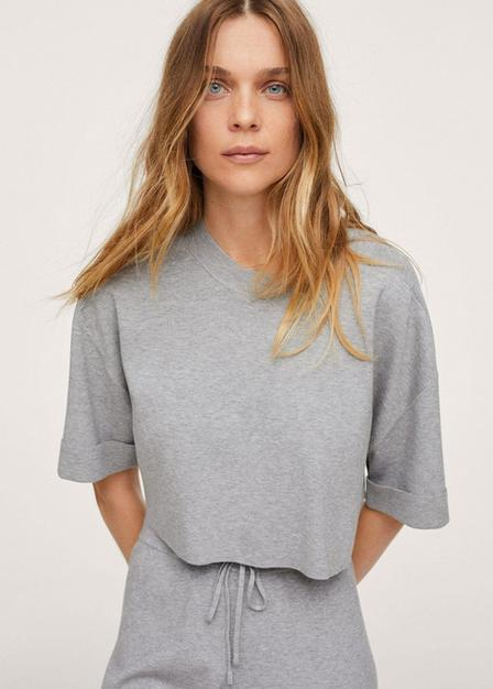 Mango - Medium Grey Knitted Cropped Top, Women
