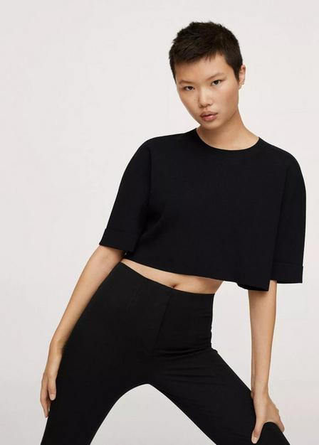 Mango - Black Knitted Cropped Top, Women