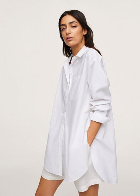 Mango - white Chest-pocket cotton shirt, Women