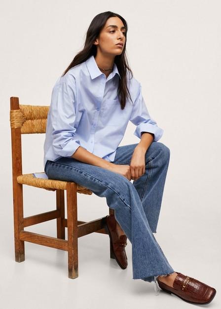 Mango - Lt-Pastel Blue Chest-Pocket Cotton Shirt, Women