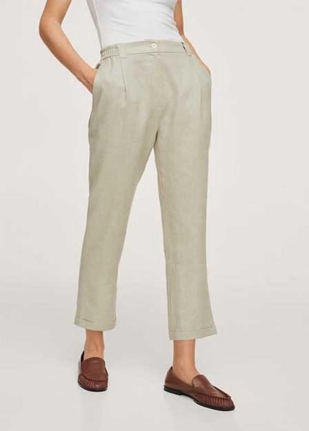 Mango - Green Pleated Linen Trousers, Women