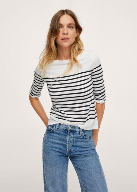 Mango - White Stripes Organic Cotton T-Shirt, Women