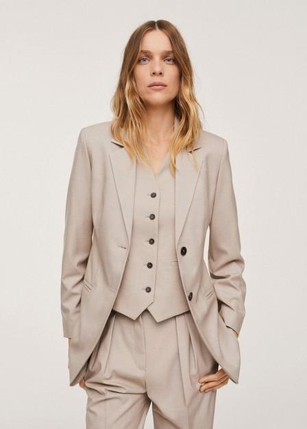 Mango - Light Beige Patterned Suit Blazer, Women