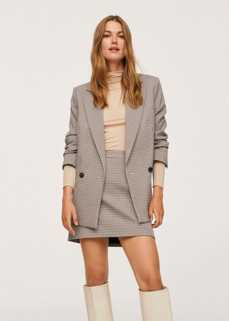 Mango - Brown Check Design Skirt, Women
