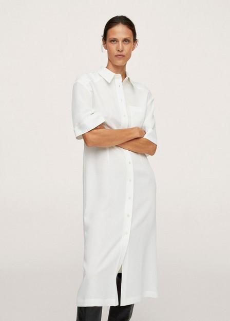 Mango - Natural White Midi Shirt Dress, Women