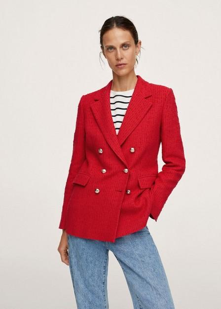 Mango - Red Buttons Tweed Blazer, Women