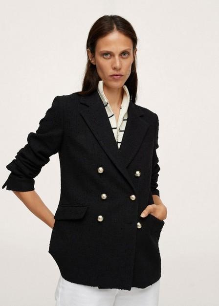 Mango - Black Buttons Tweed Blazer, Women