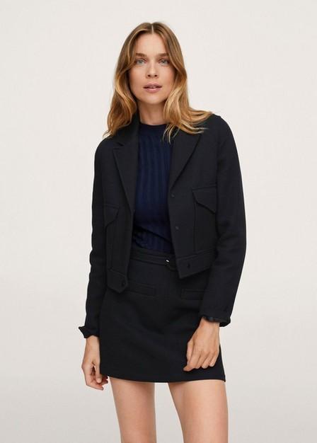 Mango - Black Belted Mini Skirt, Women