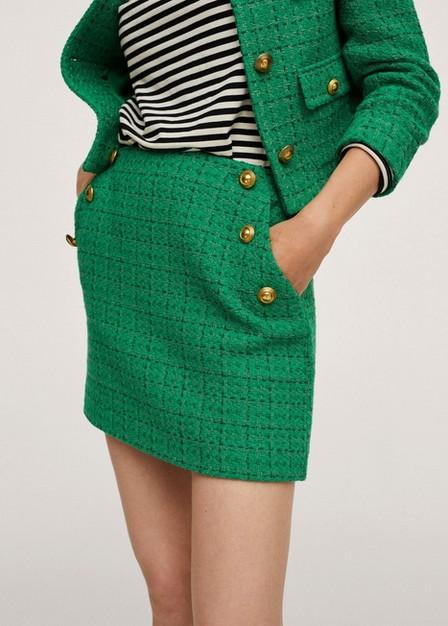 Mango - Green Buttoned Knit Skirt, Women