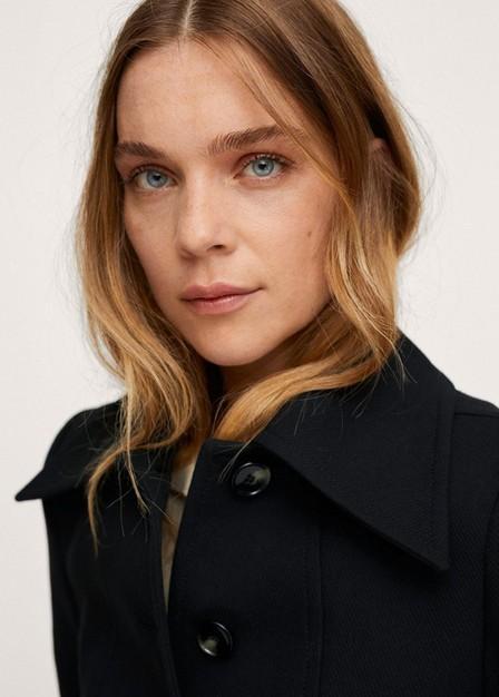 Mango - Black Buttoned Cotton Coat, Women