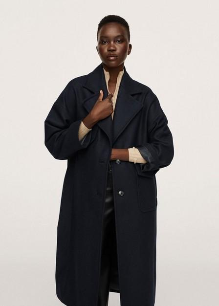 Mango - Dark Blue Pocketed Wool Coat, Women