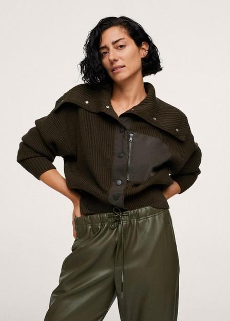 Mango - Dark Green Leather-Effect Elastic Waist Trousers, Women