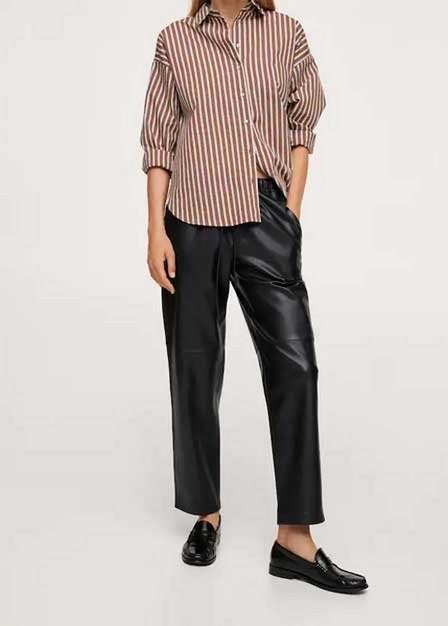 Mango - Black Leather-Effect Elastic Waist Trousers, Women