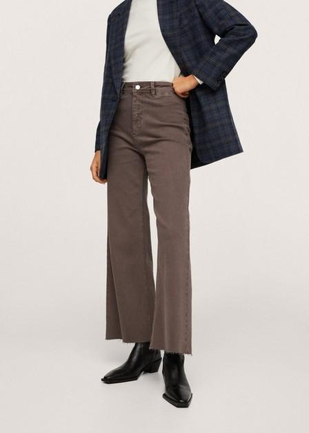 Mango - Dark Green Elastic High-Waist Culotte Jeans, Women