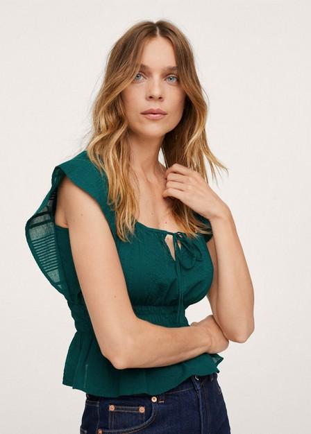 Mango - Bright Green Cotton Top With Ruffles, Women
