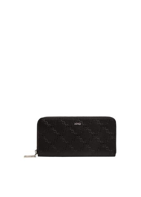 Mango - Black Engraved Chain Wallet, Women