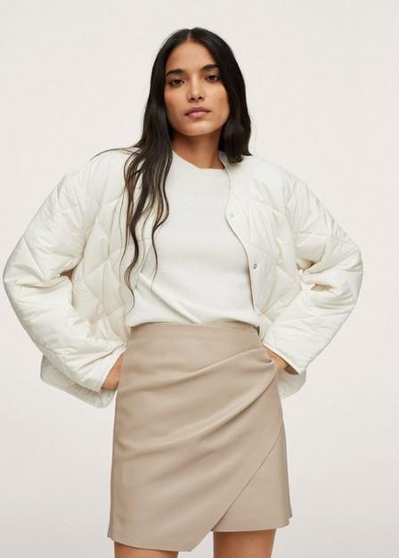 Mango - Lt-Pastel Grey Skin Effect Mini Skirt, Women