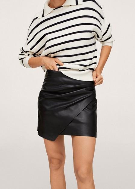 Mango - Black Skin Effect Mini Skirt, Women