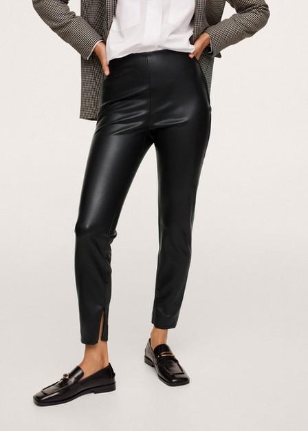 Mango - black Faux leather leggings, Women