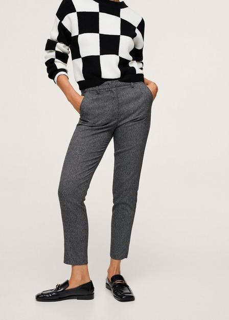 Mango - Grey Crop Skinny Trousers, Women
