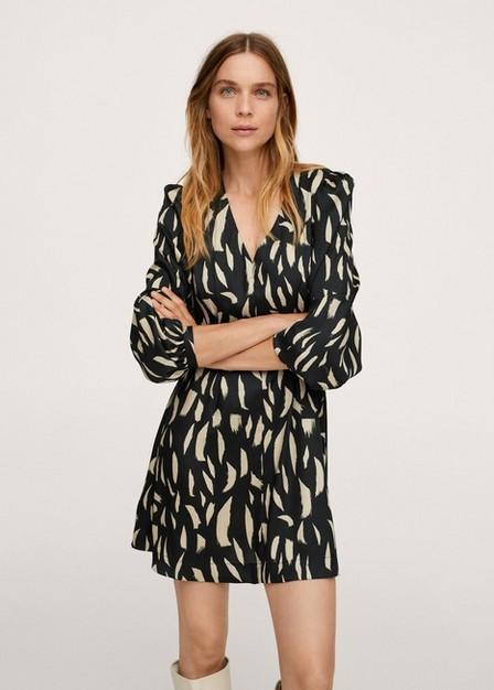 Mango - Black Printed Bow Dress, Women