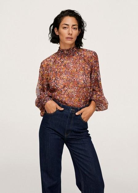 Mango - orange Floral print blouse, Women