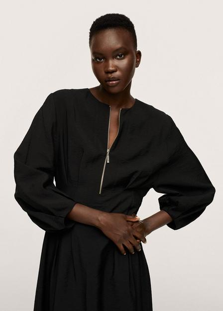 Mango - Black Flowy Modal Dress, Women