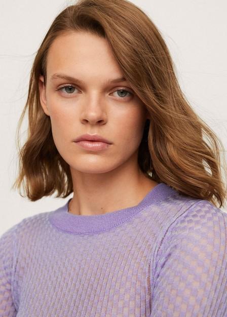Mango - Lt-Pastel Purple Textured Checked Sweater, Women