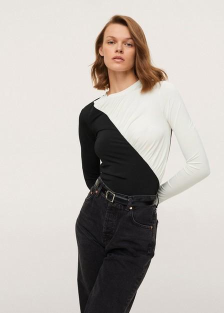 Mango - Black Long-Sleeved T-Shirt With Ruffles, Women