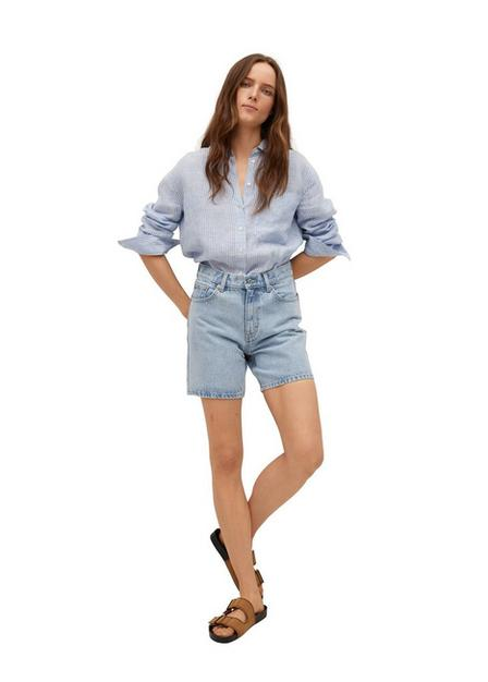 Mango - Open Blue Straight Denim Shorts, Women