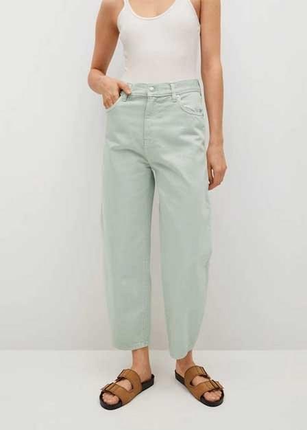 Mango - green High-waist balloon jeans, Women