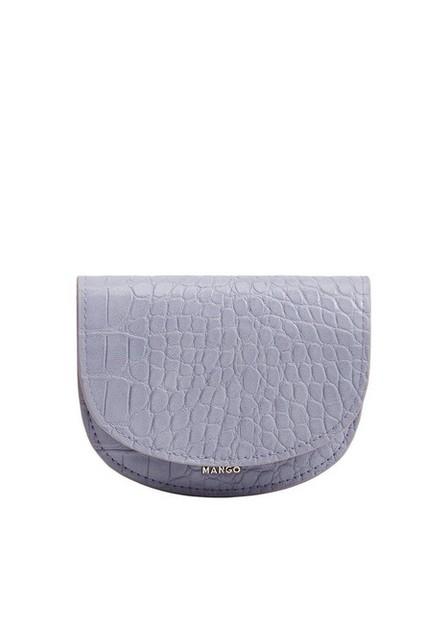 Mango - lt-pastel purple Croc-effect flap purse, Women