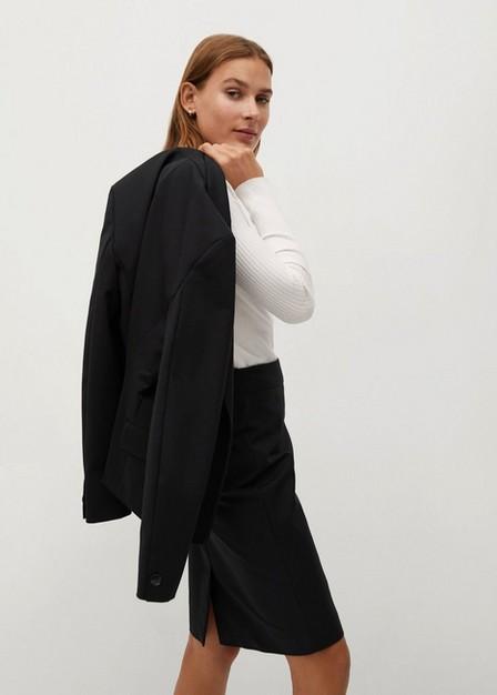 Mango - black Cotton pencil skirt, Women