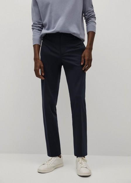 Mango - navy Slim-fit cotton suit trousers, Men