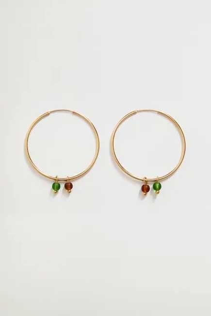 Mango - Gold Crystal Pendant Earrings, Women