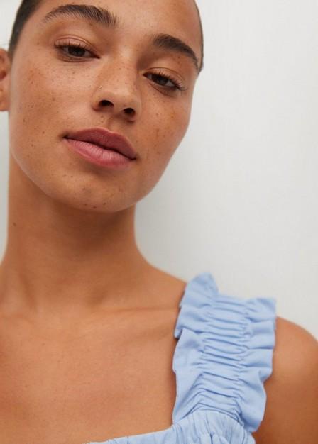Mango - lt-pastel blue Ruched cotton top, Women