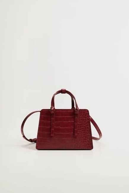 Mango - Dark Red Croc-Effect Mini Bag, Women