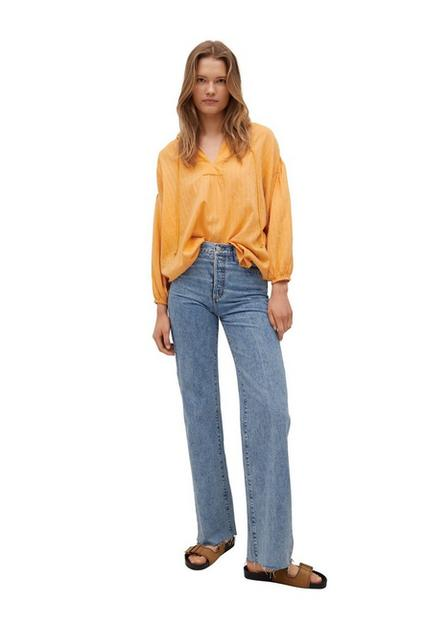 Mango - Medium Yellow Textured Cotton Blouse, Women
