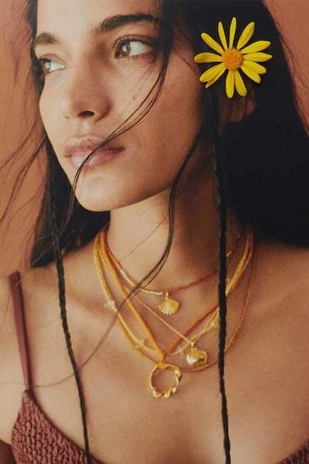 Mango - Gold Beads Pendant Necklace, Women