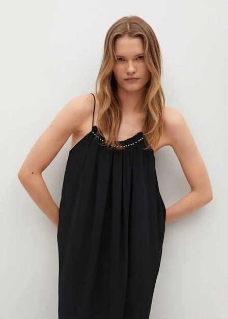 Mango - black Metallic appliqué dress
