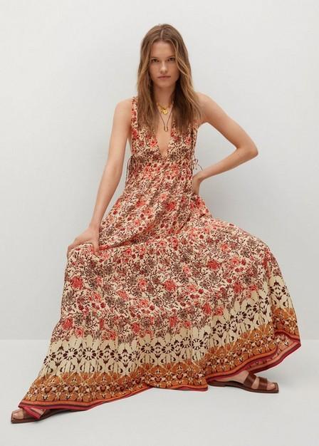 Mango - orange Flowy printed dress, Women