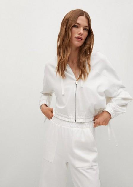Mango - white Pocket cotton trousers, Women