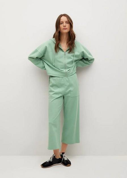 Mango - green Pocket cotton trousers, Women