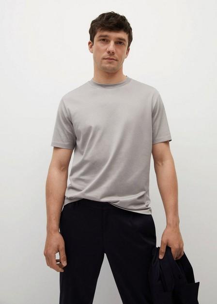 Mango - Lt-Pastel Grey Mercerised Regular-Fit  T-Shirt, Men