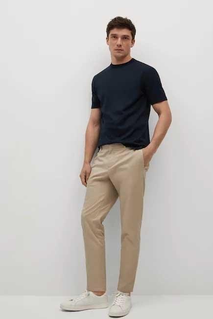 Mango - Navy Mercerised Regular-Fit  T-Shirt, Men