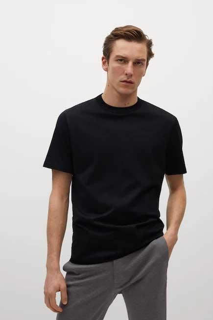 Mango - Black Mercerised Regular-Fit  T-Shirt, Men