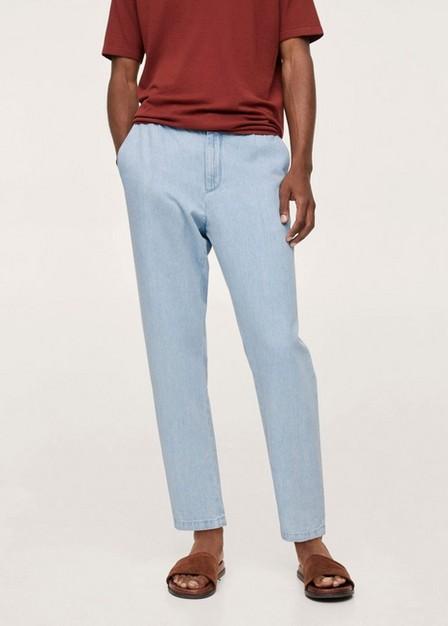 Mango - open blue Light-wash loose-fit jeans, Men