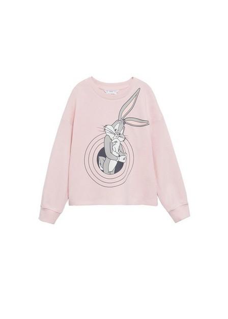 Mango - Lt-Pastel Pink Bugs Bunny Sweatshirt, Kids Girl
