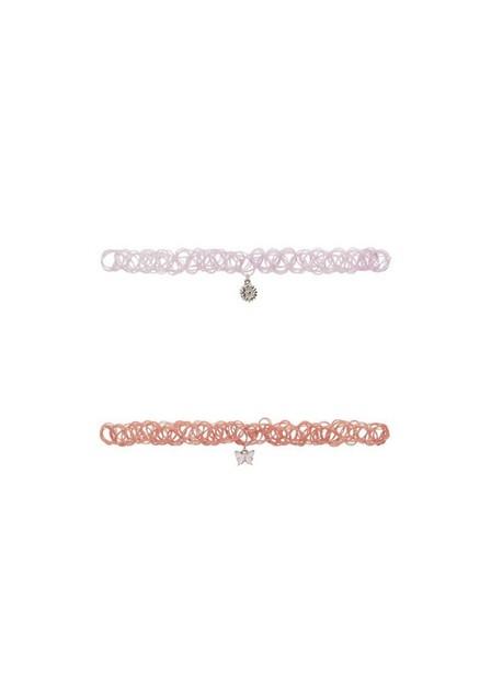 Mango - lt-pastel pink 2 Pendant chockers pack, Kids Girl